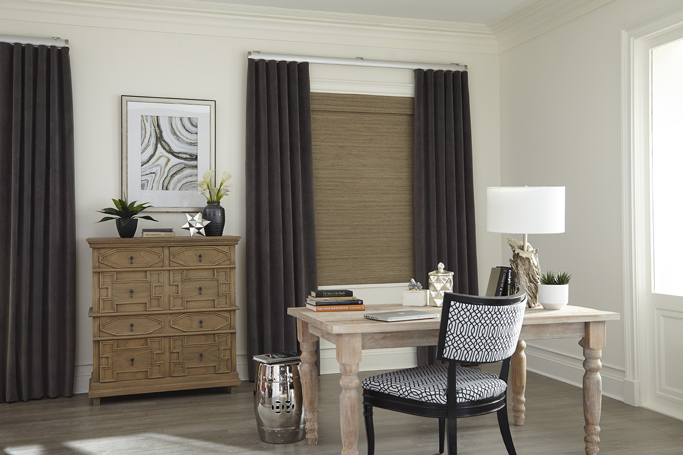 Coimbra-Steel-Room Avalon Shades and Select Metal Coimbra Traverse Rods