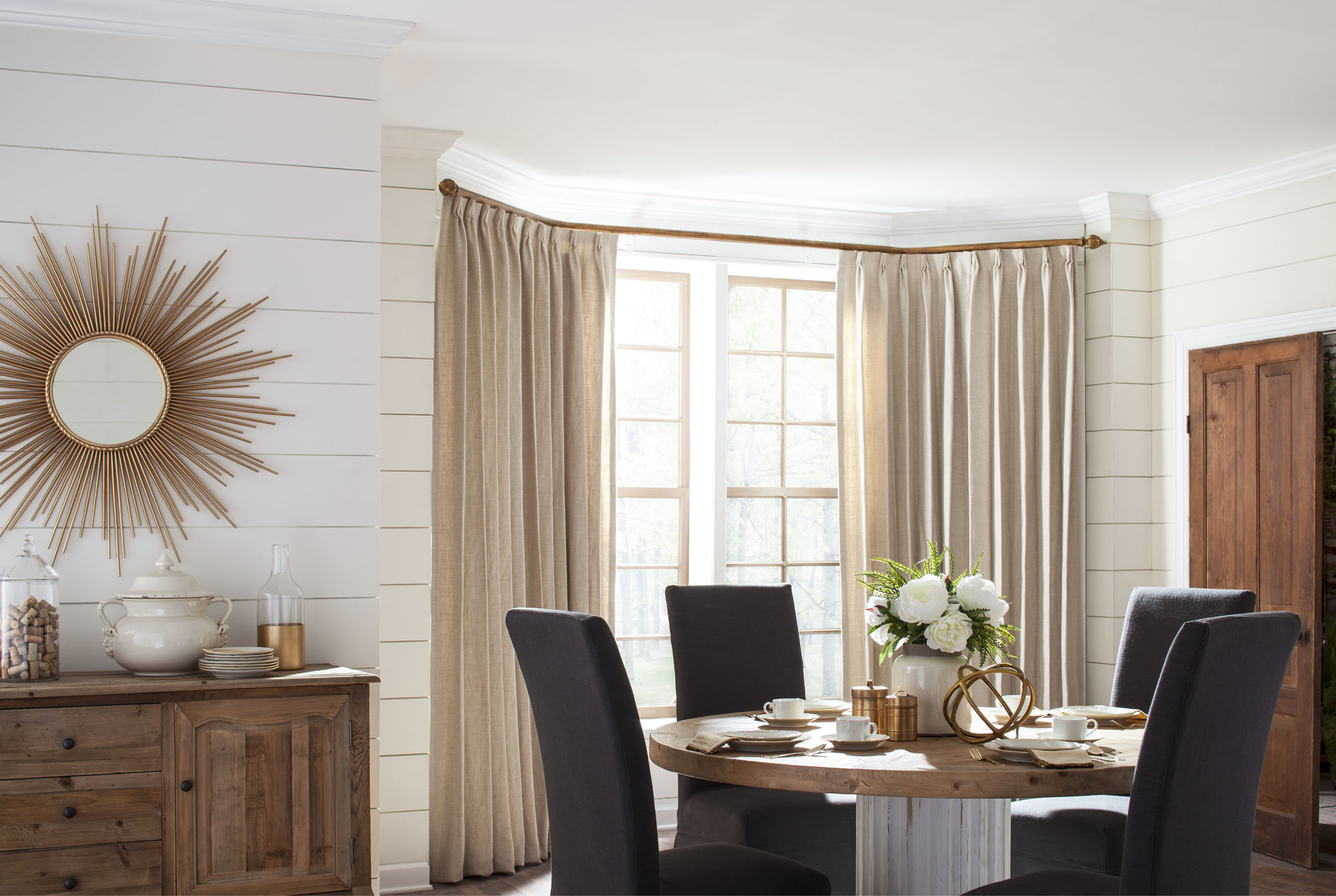 Select Wood Bent Traverse Rod for Bay Window