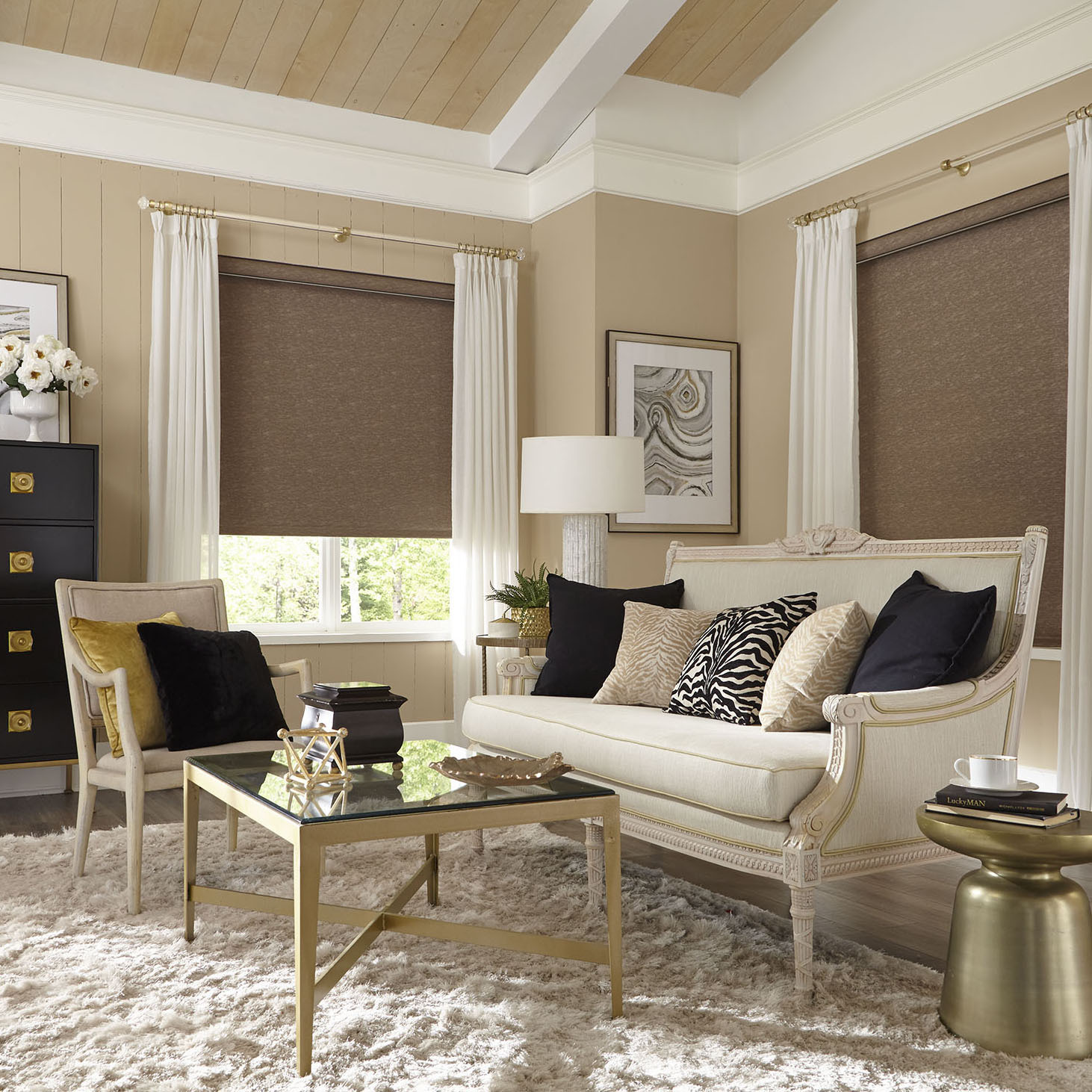 Acrylic with Brass Room Arlington Roller Shades and Select Metal Acrylic Poles and Accessories